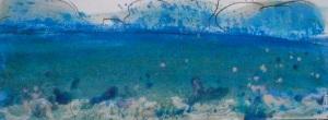 Afternoon sea splash -Encaustic Monotype