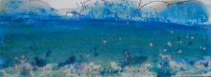 Afternoon sea splash -Encaustic Monotype