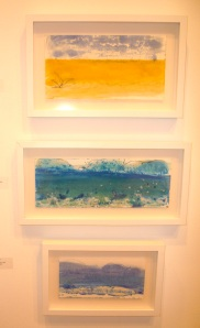 My encaustic monotypes at the Working in Wax show - Bedford Gallery